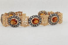 Women's bracelet in gold and silver with topazes and rose-cut diamonds