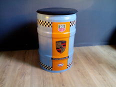 Oil barrel - seat / chair with logos of among others Porsche - Gulf - Tag Heuer - 65 cm