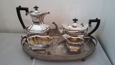 john bishop chatterley&sons ltd c1880/1936 coffee/teapot/sugar bol/milk jug silver plated &tray made in england