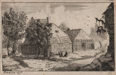 Philip Adam - A house with a barn - Rare work by an obscure  English engraver - Around 1690