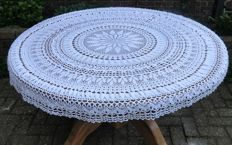 Large unique hand crocheted round tablecloth with flower of life
