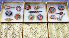 15 beautiful vintage Italian micro mosaic brooches, period 1920 to 1980.