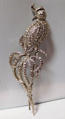"""Large """"Peacock"""" brooch in Solid Silver and Marcasites; signed."""