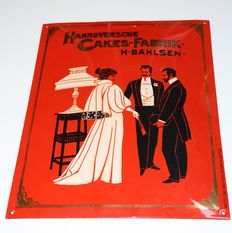 Enamel advertising sign Hannoversche Cakes Fabrik - second half of the 20th century, Germany.