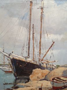 Jan Kelderman (1914-1990) - Boot in Franse haven