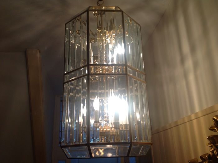 Large (70 cm) crystal glass cut hall lantern (probably) French