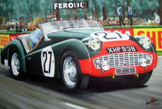 Fine Art : Triumph TR3 Peter Jopp and Dickie Stoop Le Mans 1959 - retired