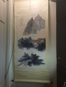 A scroll painting with a mountain view - China - late 20th century
