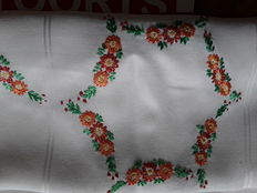 4 Embroidered tablecloths 1 of which is damask