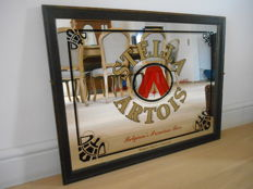 Large and rare advertising mirror for Stella Artois from 1980