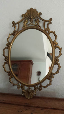 Brass mirror in Louis XV style