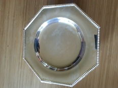 octagonal silver plated bronze dish * re-silvered, beaded model