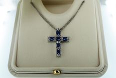 "Choker ""Cross"" in 18K white gold with blue sapphires
