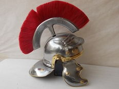 "Roman helmet with Crest and movable ears used in the movie ""Gladiator"" made with steel with head cover produced in Italy"