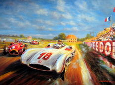 Grand Prix de I'ACF 1954 Reims - Mercedes-Benz W196 Fangio/Kling 1-2 - Art Print on HV Silk Mc 250 gr/m2