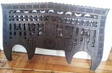 Traditional double yoke. Fine wood Real carved craftsmanship. Portuguese origin. Headboard of bed, 70's