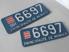 Principality of Monaco - License plate, blue and white in metal and plastic - 1964