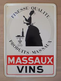 Rare metal advertising sign for 'Massaux Vins' from 1953
