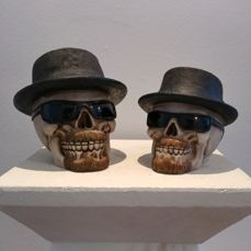 Skull Breaking Bad with Trilby Hat and Glasses Ornament Figure Gothic Decoration
