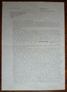 Autograph; Carl Gustav Jung - Signed letter in typescript to Georges Duplain - 1958
