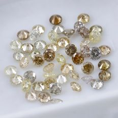 50 Diamonds - 1.53 ct. Natural Mix Color - Round Brilliant - *** NO RESERVE ***