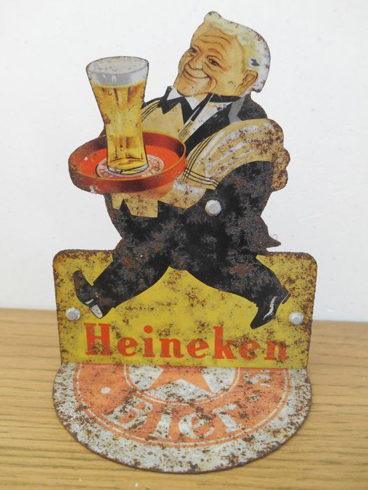 Metal advertising display stand for Heineken from around 1960