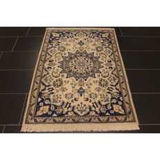 Royal handwoven Persian palace carpet. Nain with silk 140 x 91 cm, made in Iran
