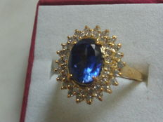 Tanzanite 14kt gold ring with diamonds and certificate: inner diameter approx. 17mm.