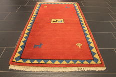 Wonderful Persian carpet, Gabbeh wool on wool, Nomad work, made in India, natural colours 95 x 166 cm, very good condition
