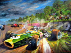 Jim Clark at Home - Silverstone Grand Prix 1965 - Art Print on HV Silk Mc 250 gr/m2