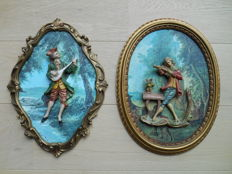 Two gold plated frames with porcelain musicians from 1950