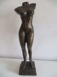 Sculpture; Decorative torso of naked woman-2nd half of 20th century