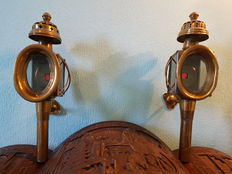 Set of two copper Carriage lamps, first half 20th century