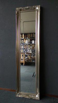 Particularly large full length mirror with facet cut glass-frame with ornaments - Silver