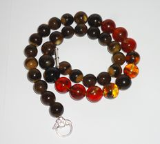 Colourful Baltic amber necklace, 66 grams, length 54 cm