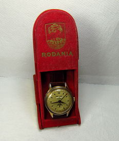 Rodana moon phase triple date calendar-manual winding men's wristwatch gold plated case-Vintage 1950's