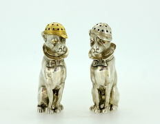Pair of Solid Silver Salt and Pepper Shakers, London 1957, WW