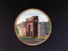 Beautiful circular box made of cardboard, glass and copper - rare view of Paris, Porte Saint-Martin - France - 19th century