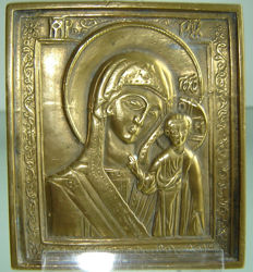 """Antique Russian icon """"MOTHER OF GOD OF KAZAN"""" 18th century 7.9 x 8.9 cm"""