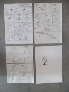 Cauvin, Raoul - 3x original draft sketch + original drawing - Les voraces