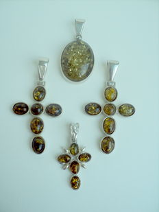 "Silver 925 Set with ""Green tea"" Amber - Crosses Pendants"