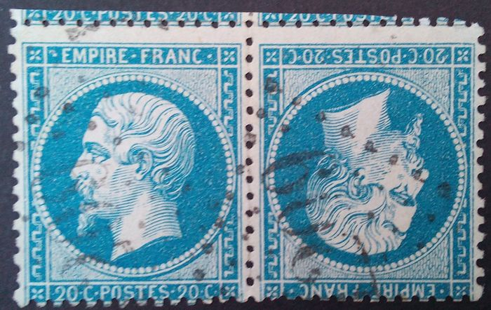 France 1862 Napoleon III Blue 20 Cent Stamp Pair Has A Tete