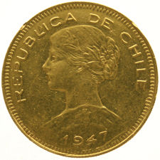 Chile - 100 Pesos - gold