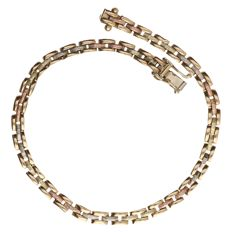 14 kt tri-colour anchor link bracelet - length: 19.4 cm