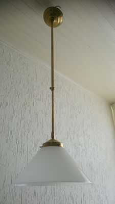 Beautiful yellow brass school-lamp with old opaline shade.