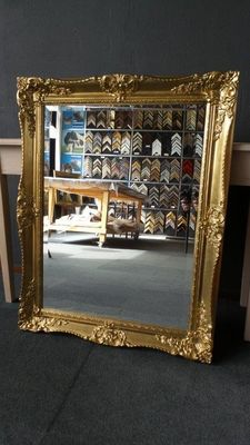 Large Venetian mirror with facet - Hand gilded - Gold - Patinated