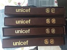 Thematic - Four books of unicef stamps, print flags