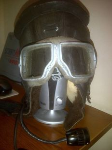 Original Russian( СССР/USSR ) Leather winter helmet with glasses and accessories. Air Force.