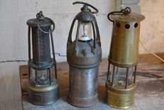 3 beautiful miner lamps Belgium CA.1900