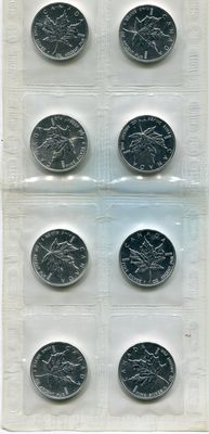 Canada – 5 dollars 1994 'Maple Leaf' – Eight coins weighing one ounce – Silver